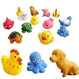 SODIAL(R)(R) 13 piezas caucho Animales Con Sonido bebe juguetes ducha juguetes para bano