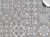 24x gris Lámina impresa 2d PEGATINAS lisas para pegar sobre azulejos cuadrados de 15cm en cocina, baños – resistentes al agua y aceite