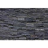 GREAT ART Mural de Pared Cuarto De Los Niños – Pared de Piedra Negra – Negro Stonewall Tapiz Deco Imagen de Piedras Negras Muro Foto Papel Tapiz y decoración (210x140 cm)