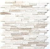 Mosaico de azulejos autoadhesivos, mármol natural, piedra natural, color blanco y madera blanca para pared, baño, cocina, espejo, revestimiento de bañera, placa de mosaico