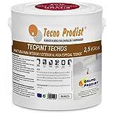 TECPINT TECHOS de Tecno Prodist - 2,5 Kg -Pintura para Techos -Exterior e Interior al Agua especial techos -Lavable -Fácil Aplicación -(BLANCO)