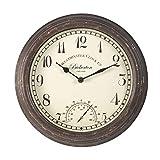 Bickerton Reloj de pared y termómetro diseño clásico para exteriores / interiores con gran cara de 12 pulgadas