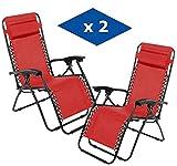 VIP HOGAR Pack 2 Tumbonas Plegables Multiposiciones, Sillas Relax Jardín o Exterior Gravedad Cero (Rojo)