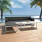 Tidyard Conjunto Muebles de Jardín de Ratán 13 Piezas con Mesa y Cojines,Sofas Exterior para Jardín Terraza Patio,Textilene y Aluminio,Negro y Blanco