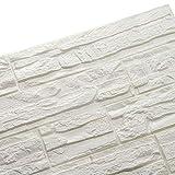 Ray-Velocity 3D Ladrillo Pegatina Pared Autoadhesivo Panel Pared Impermeable 3D DIY Wall Stickers Moderno Blanco Decorativo pare Cocina, baño, dormitorio, oficina, fondo TV 60 * 60CM