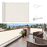 SUNNY GUARD Pantalla para Balcón Jardín Protección de Privacidad HDPE Resistente a los Rayos UV Protección contra el Viento, con Ataduras de Cables, 90x300cm Crema