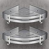 WOSTOO Estantería de Esquina para Baño,Estantería Ducha sin Perforaciones Aluminio Estanteria Baño Ducha con 2 Ganchos Accesorios de Baño y Cocina -2 piezas