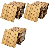 Deuba Set de 33 baldosas'Clásica' de madera Acacia 30 x 30 cm por 3m² losas de terraza jardín balcón spa