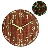 Reloj de pared de Madera de Luminoso, 30cm Reloj Pared Grande Moderno, Vintage Decorativo Reloj Pared de Cuarzo Silencioso para Cocina, Salon, Oficina y Dormitorio, Oficina Funciona con Pilas
