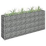 UnfadeMemory Jardinera Exterior,Gaviones de Piedra,Muro de Gaviones,Decorativos para Jardin Patio,Acero Galvanizado,Plateado (180x30x90cm)