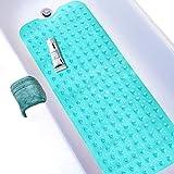 Wimaha Esteras de bañera Antideslizantes Estera de Tina Extra Larga Máquina de Ducha Lavable para baño Antibacterial Resistente al Moho, 39L x 16W Teal Bath Mat