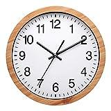 Nuovo Reloj de pared redondo de madera de 25,4 cm, silencioso y sin garrapatas, funciona para sala de estar, dormitorio, cocina (26 cm)