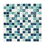 6 Unidades 3D autoadhesiva Etiqueta engomada del azulejo de la Pared, pelar y Pegar Vinilo Wallpaper Anti Molde baño decoración de la Cocina 0.84 sq.ft/Piece (Estilo Mosaico Verde Azul)