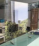 Mampara Pantalla PROTECCION Mostrador CRISTAL de SEGURIDAD - 【HIGIENE y DESINFECCIÓN】 - Vidrio templado 6 mm - Varias Medidas - 120 ancho x 80 altura (ventana 50x20)