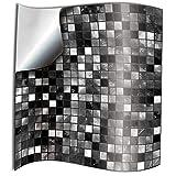 24x Negro blanco Lámina impresa 2d PEGATINAS lisas para pegar sobre azulejos cuadrados de 15cm en cocina, baños – resistentes al agua y aceite