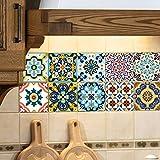 EXTSUD Adhesivos Decorativos para Azulejos Pegatinas para Baldosas del Baño/Cocina Resistente al Agua, 10 Unidades, 20 x 20 cm, Estilo Mediterráneo