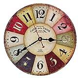 Reloj Pared de Madera de la Vendimia,30cm Reloj Numérico Grande de Madera Retro,Silencioso No Tick Tack Ruido Reloj de Pared para No Ruidos,Cocina, Decoración de la Sala de Estar (A)