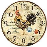 Huabei - Reloj de péndulo de pared, silencioso, estilo vintage, diseño de gallo París (pollo)