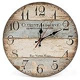 LOHAS Home Reloj de pared redondo, de madera, con diseño vintage, silencioso, de 30,5 cm